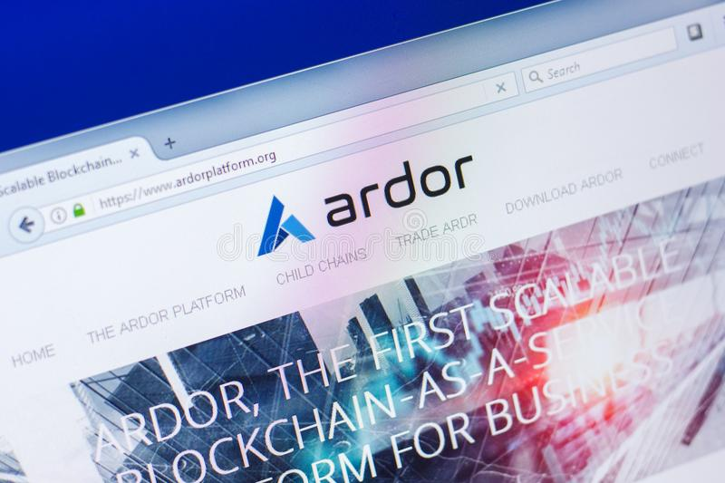 Ryazan, Russia - March 29, 2018 - Homepage of Ardor crypto currency on a display of PC, web address - ardorplatform.org. Ryazan, Russia - March 29, 2018 stock images
