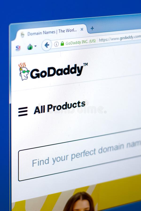 Ryazan, Russia - March 28, 2018 - Homepage of GoDaddy domains seller on a display of PC, web adress - godaddy.com. Ryazan, Russia - March 28, 2018 - Homepage of royalty free stock images