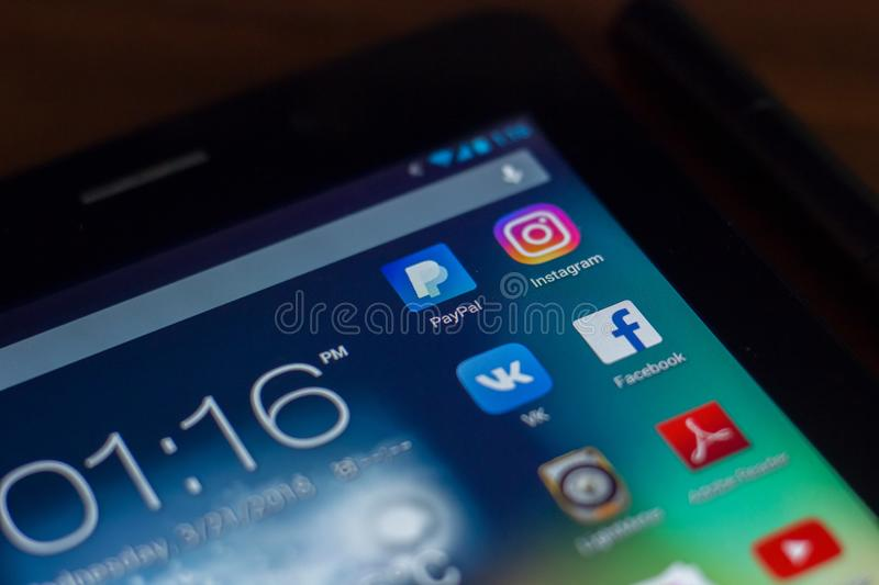 Ryazan, Russia - March 21, 2018 - Mobile apps icons of Facebook, Instagram, PayPal and others on display of tablet PC. Ryazan, Russia - March 21, 2018 - Mobile stock photos