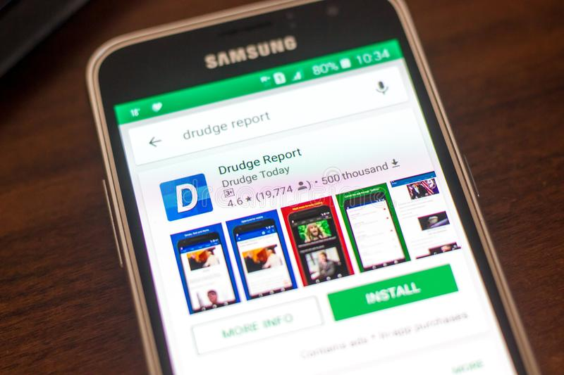 Ryazan, Russia - May 04, 2018: Drudge Report icon in the list of mobile apps on the display of cell phone. Ryazan, Russia - May 04, 2018: Drudge Report icon in stock image