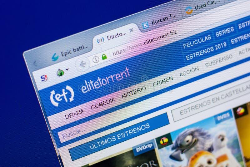 Ryazan, Russia - May 20, 2018: Homepage of EliteTorrent website on the display of PC, url - EliteTorrent.biz. Ryazan, Russia - May 20, 2018: Homepage of royalty free stock image