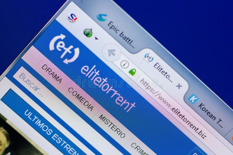 Ryazan, Russia - May 20, 2018: Homepage of EliteTorrent website on the display of PC, url - EliteTorrent.biz. Ryazan, Russia - May 20, 2018: Homepage of royalty free stock photography