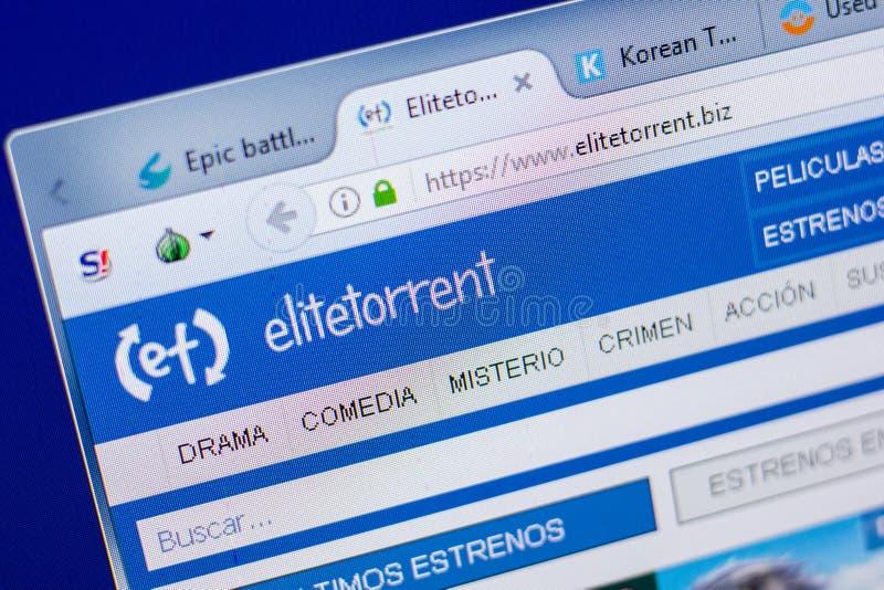 Ryazan, Russia - May 20, 2018: Homepage of EliteTorrent website on the display of PC, url - EliteTorrent.biz. Ryazan, Russia - May 20, 2018: Homepage of stock image