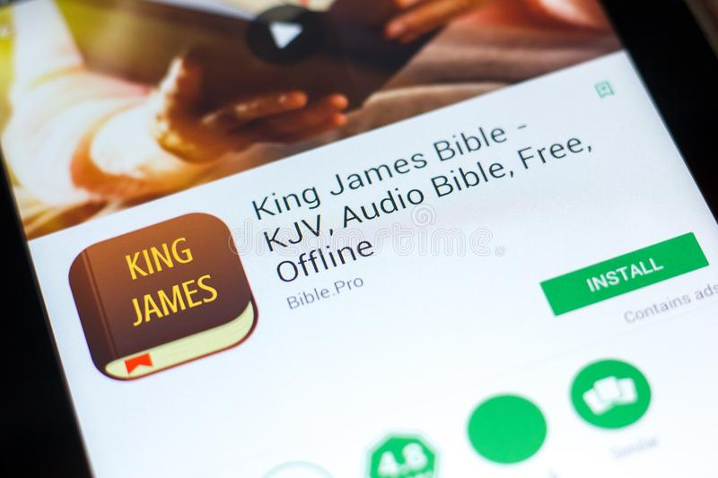 Ryazan, Russia - May 03, 2018: King James Bible mobile app on the display of tablet PC. royalty free stock photos