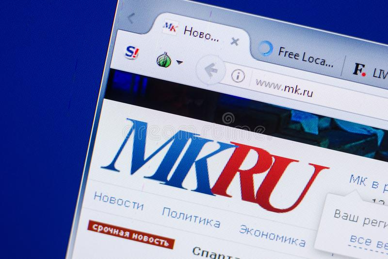 Ryazan, Russia - May 13, 2018: Mk website on the display of PC, url - Mk.ru. Ryazan, Russia - May 13, 2018: Mk website on the display of PC, url - Mk.ru royalty free stock photo