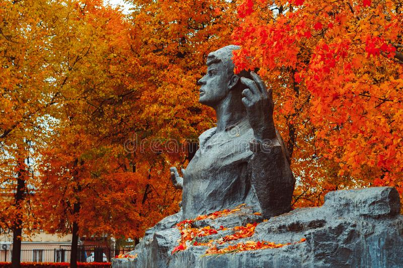 Ryazan, Russia-05 October 2019: monument to Sergei Yesenin, the great Russian poet. royalty free stock photography