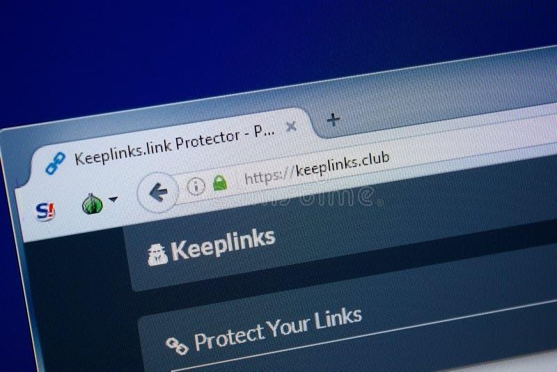 Ryazan, Russia - September 09, 2018: Homepage of Keep Links website on the display of PC, url - KeepLinks.club.  royalty free stock photo