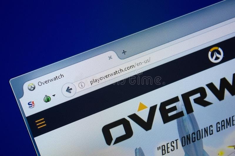Ryazan, Russia - September 09, 2018: Homepage of Play Over Watch website on the display of PC, url - PlayOverWatch.com stock photography
