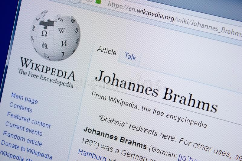 Ryazan, Russia - September 09, 2018 - Wikipedia page about Johannes Brahms on a display of PC. royalty free stock images