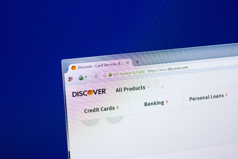 Ryazan, Russland - 29. April 2018: Homepage von Discover Website auf der Anzeige von PC, URL - entdecken Sie com lizenzfreie stockfotos
