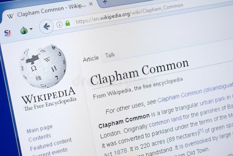 Ryazan, Russland - 19. August 2018: Wikipedia-Seite über Clapham allgemein auf der Anzeige von PC stockfoto