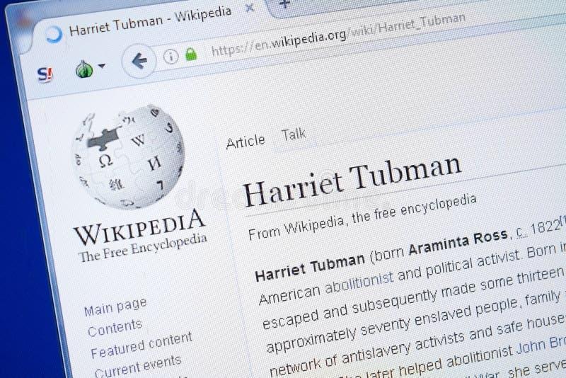 Ryazan, Russland - 19. August 2018: Wikipedia-Seite über Harriet Tubman auf der Anzeige von PC stockbilder