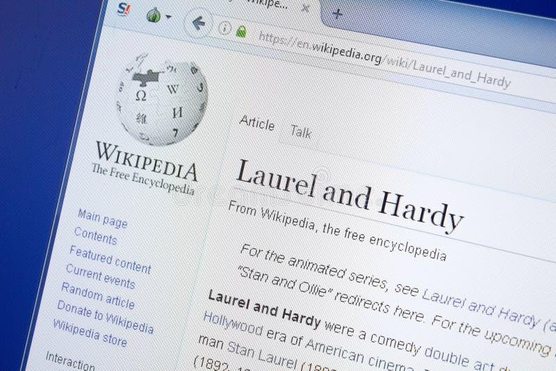 Ryazan, Russland - 19. August 2018: Wikipedia-Seite über Lorbeer und robustes auf der Anzeige von PC stockfoto