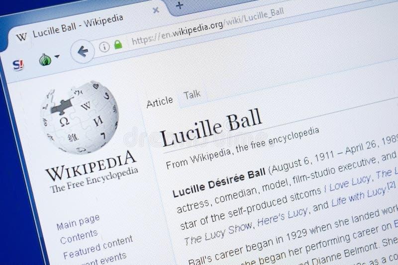 Ryazan, Russland - 19. August 2018: Wikipedia-Seite über Lucille Ball auf der Anzeige von PC stockfotos