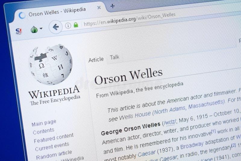 Ryazan, Russland - 19. August 2018: Wikipedia-Seite über Orson Welles auf der Anzeige von PC stockfotos