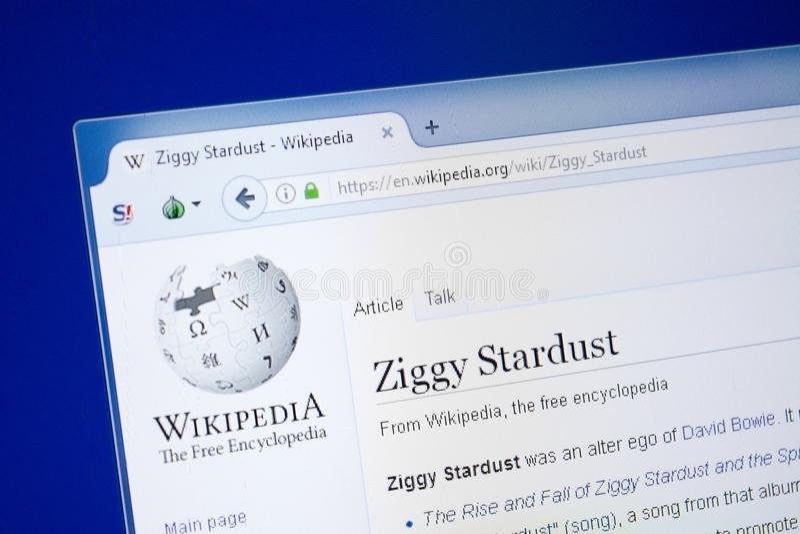 Ryazan, Russland - 19. August 2018: Wikipedia-Seite über Ziggy Stardust auf der Anzeige von PC stockfotos