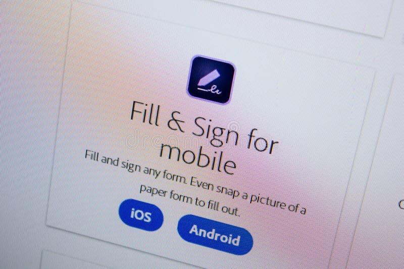 Ryazan, Russland - 11. Juli 2018: Adobe-Fülle und Zeichen für Mobile, Software-Logo auf der offiziellen Website von Adobe lizenzfreie stockfotografie