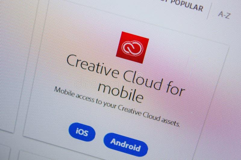 Ryazan, Russland - 11. Juli 2018: Kreative Wolke Adobes für Mobile, Software-Logo auf der offiziellen Website von Adobe lizenzfreie stockfotos