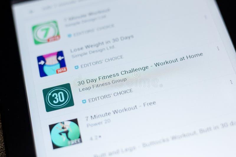 Ryazan, Russland - 3. Juli 2018: 30 Tageignungs-Herausforderung - Ikone des Trainings zu Hause in der Liste von beweglichen apps lizenzfreies stockfoto