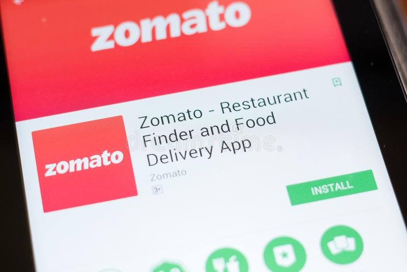 Ryazan, Russland - 24. Juni 2018: Zomato - bewegliche APP der Restaurant-Sucher-und Lebensmittel-Lieferung auf der Anzeige des Ta lizenzfreie stockbilder