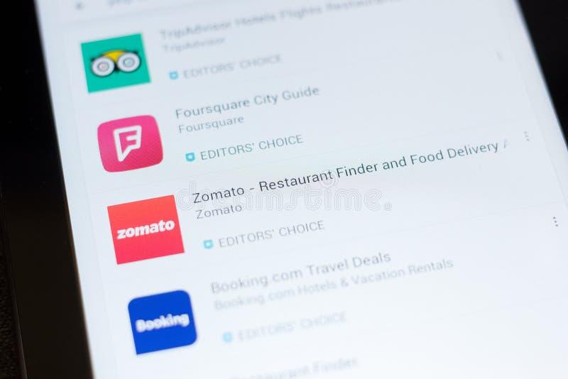 Ryazan, Russland - 24. Juni 2018: Zomato - Restaurant-Sucher-und Lebensmittel-Lieferungsikone auf der Liste von beweglichen apps stockfotografie