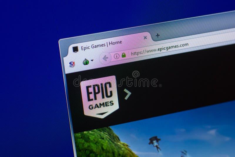 Ryazan Ryssland - April 16, 2018 - Homepage av den EpicGames websiten på skärmen av PC:N, url - epicgames com royaltyfri fotografi