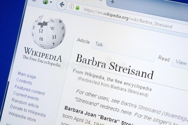 Ryazan Ryssland - Augusti 28, 2018: Wikipedia sida om Barbra Streisand på skärmen av PC:N arkivbilder