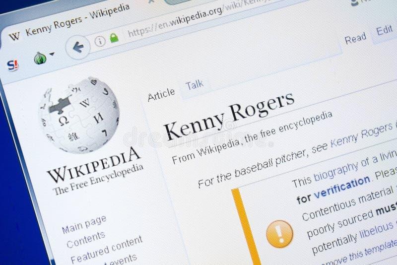 Ryazan Ryssland - Augusti 28, 2018: Wikipedia sida om Kenny Rogers på skärmen av PC:N arkivfoto