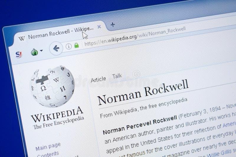 Ryazan Ryssland - Augusti 19, 2018: Wikipedia sida om Norman Rockwell på skärmen av PC:N royaltyfri bild