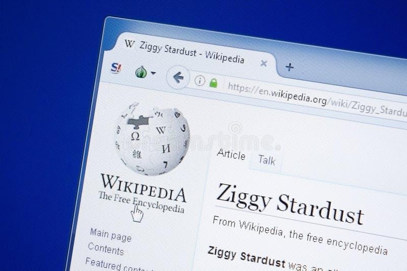 Ryazan Ryssland - Augusti 19, 2018: Wikipedia sida om Ziggy Stardust på skärmen av PC:N arkivfoto