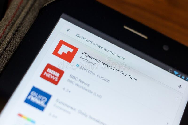 Ryazan Ryssland - Juli 03, 2018: Flipboard: Nyheterna för samtidsymbol i listan av mobila apps arkivfoton
