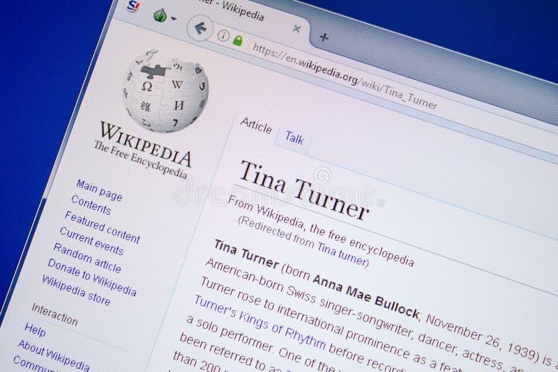 Ryazan Ryssland - Juli 09, 2018: Sida på Wikipedia om Tina Turner på skärmen av PC:N arkivfoton