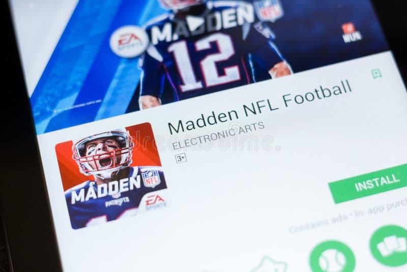 Ryazan Ryssland - Juni 24, 2018: Göra rasande NFL-fotbollmobilen app på skärmen av minnestavlaPC:N arkivbild