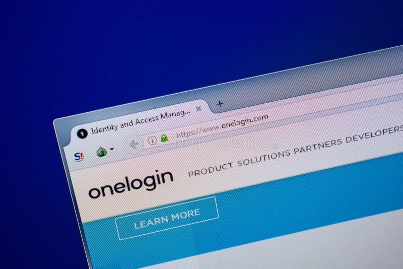 Ryazan Ryssland - Juni 26, 2018: Homepage av den OneLogin websiten på skärmen av PC:N URL - OneLogin com fotografering för bildbyråer