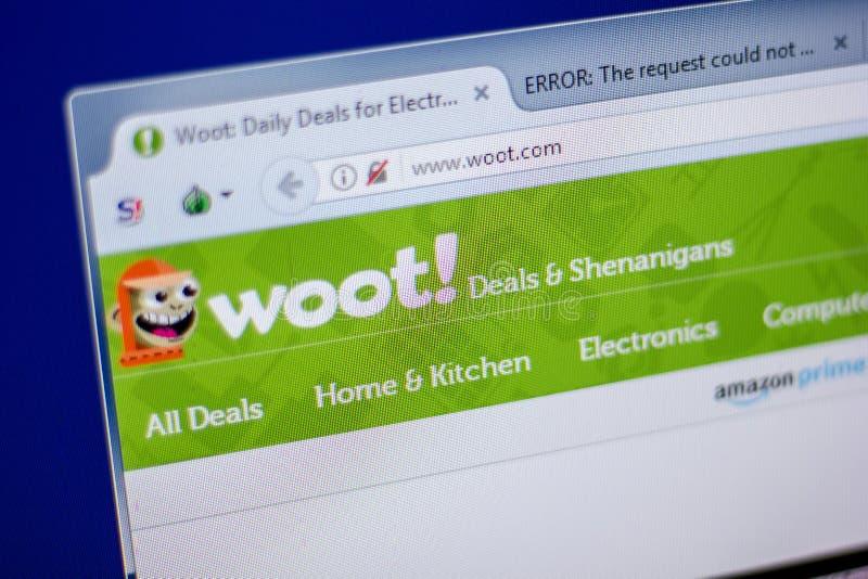 Ryazan Ryssland - Juni 05, 2018: Homepage av den Woot websiten på skärmen av PC:N, url - Woot com royaltyfri bild