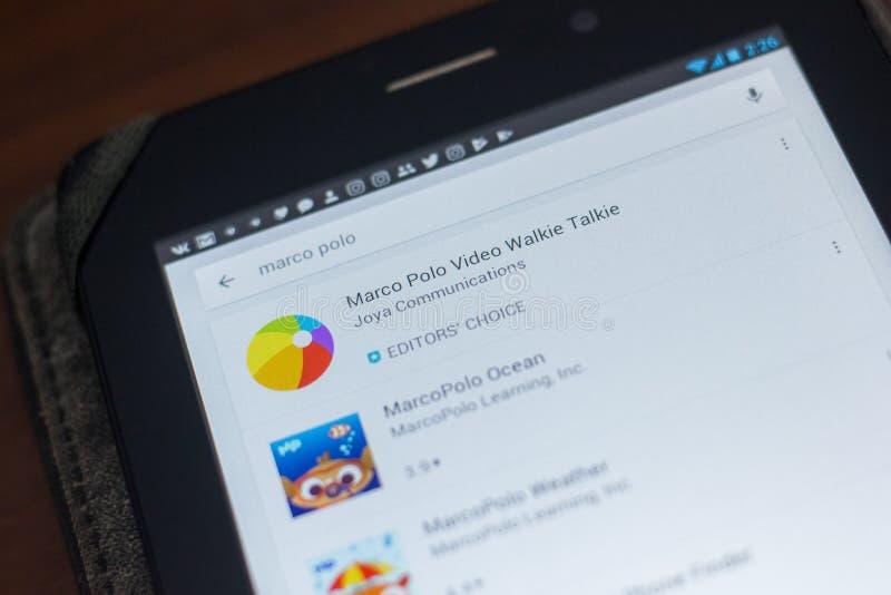 Ryazan Ryssland - Maj 16, 2018: Marco Polo app symbol eller logo i listan av mobila apps royaltyfria bilder