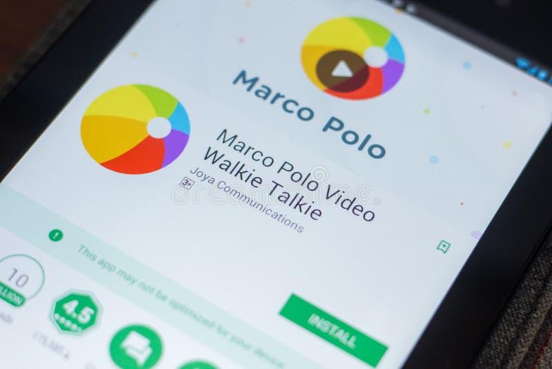 Ryazan Ryssland - Maj 16, 2018: Marco Polo mobil app på skärmen av minnestavlaPC:N royaltyfria foton
