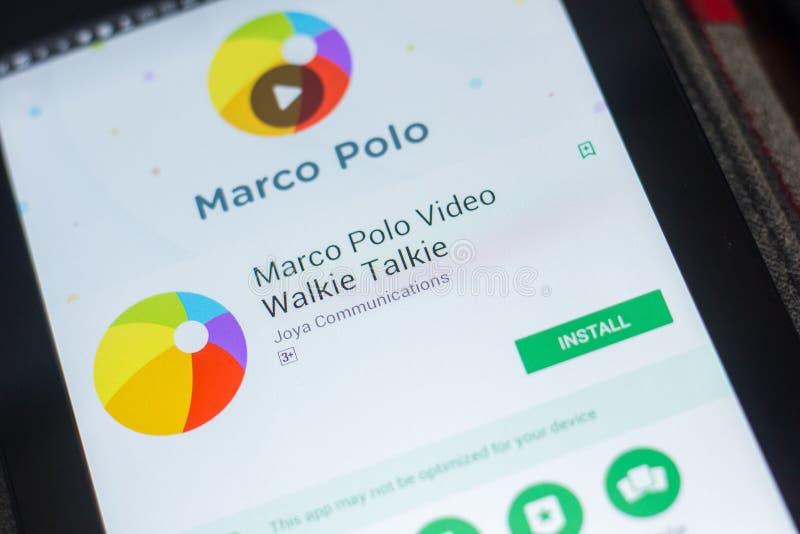 Ryazan Ryssland - Maj 16, 2018: Marco Polo mobil app på skärmen av minnestavlaPC:N arkivbild