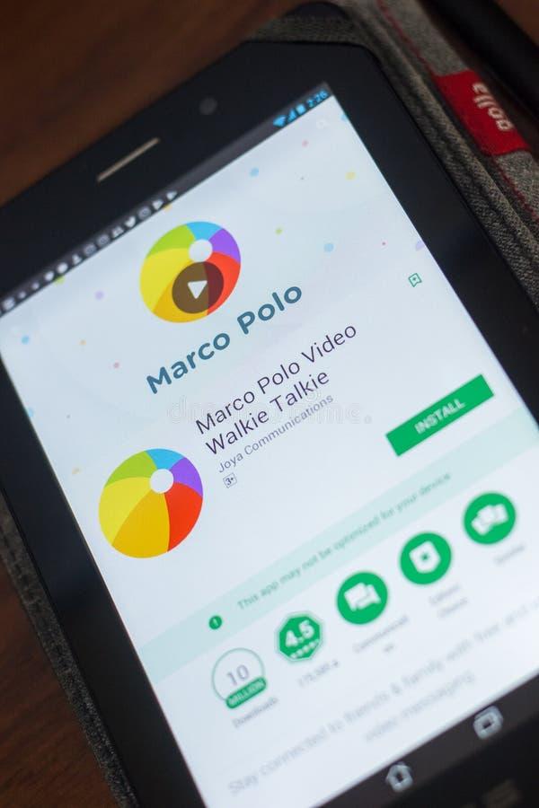 Ryazan Ryssland - Maj 16, 2018: Marco Polo mobil app på skärmen av minnestavlaPC:N royaltyfri foto