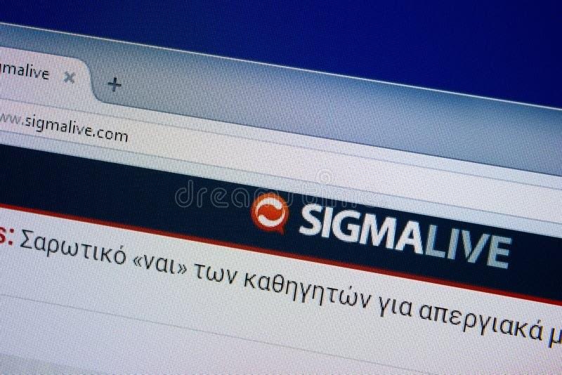 Ryazan Ryssland - September 09, 2018: Homepage av den levande websiten för Sigma på skärmen av PC:N, url - SigmaLive com fotografering för bildbyråer