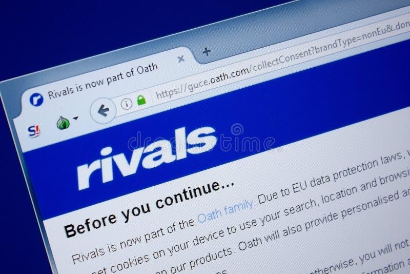 Ryazan Ryssland - September 09, 2018: Homepage av rivalwebsiten på skärmen av PC:N, url - rivaler royaltyfria bilder