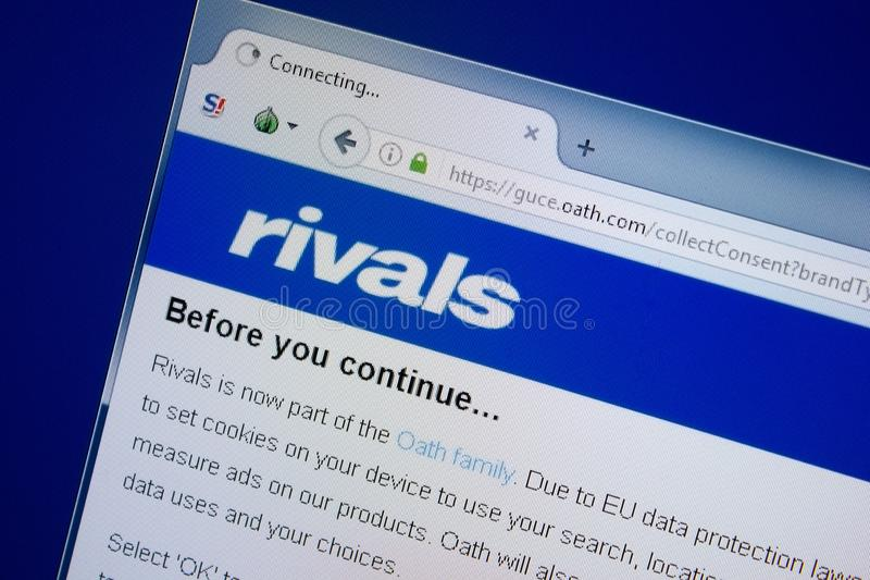 Ryazan Ryssland - September 09, 2018: Homepage av rivalwebsiten på skärmen av PC:N, url - rivaler arkivfoton