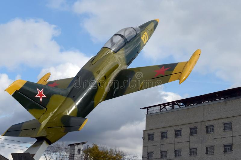 Monument to aviators Ryazhsky garrison aircraft L-39 `Albatross`. City Ryazhsk Ryazan region. RYAZHSK, RUSSIA - OCTOBER 20, 2017:Monument to aviators Ryazhsky stock photo
