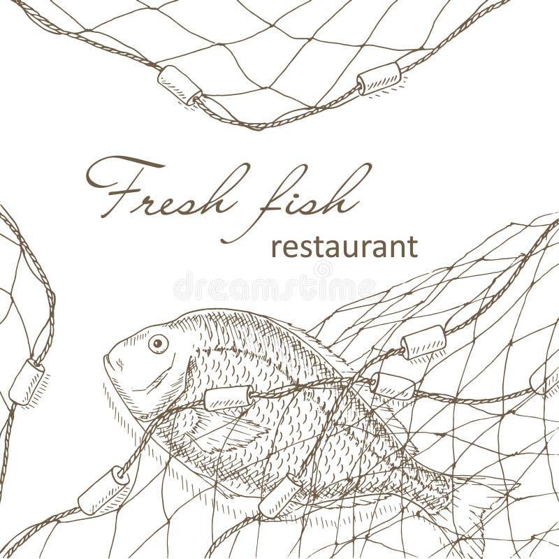 Ryba łapiąca w sieci ilustracja wektor