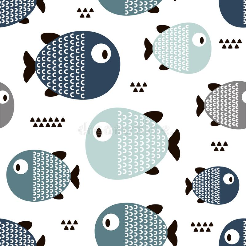 Ryba, bezszwowy wzór obraz stock