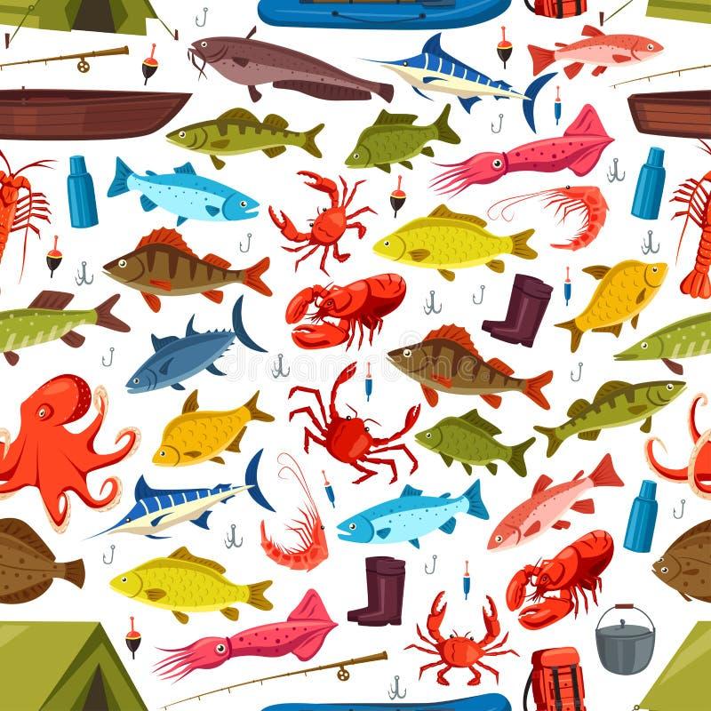 Ryba i mollusks łowi wektorowego bezszwowego wzór ilustracji