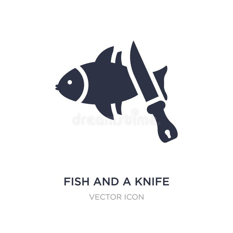 ryba i nożowa ikona na białym tle Prosta element ilustracja od zwierzęcia pojęcia royalty ilustracja