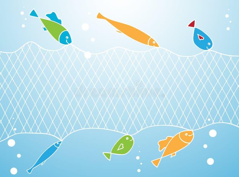 Ryba i sieć rybacka ilustracji