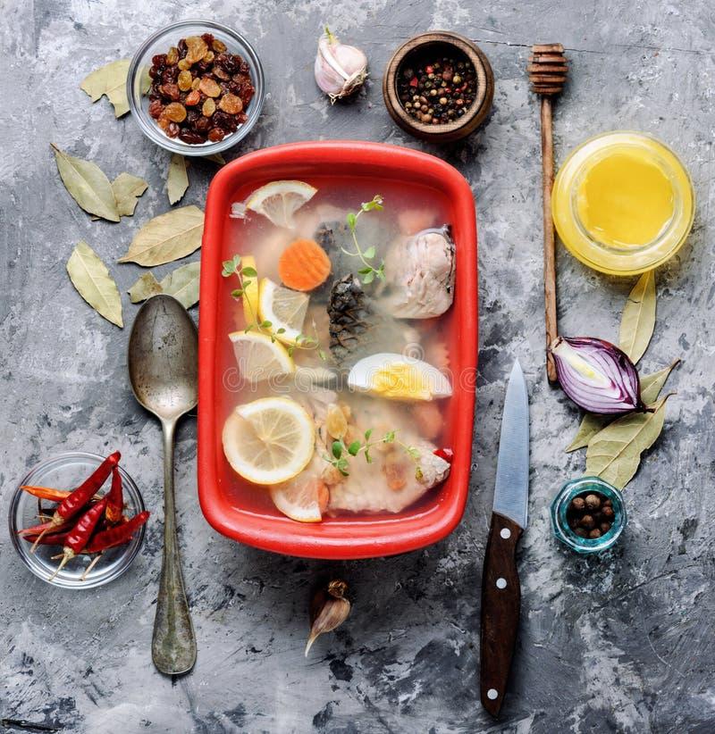 Ryba i warzywa aspic zdjęcia stock