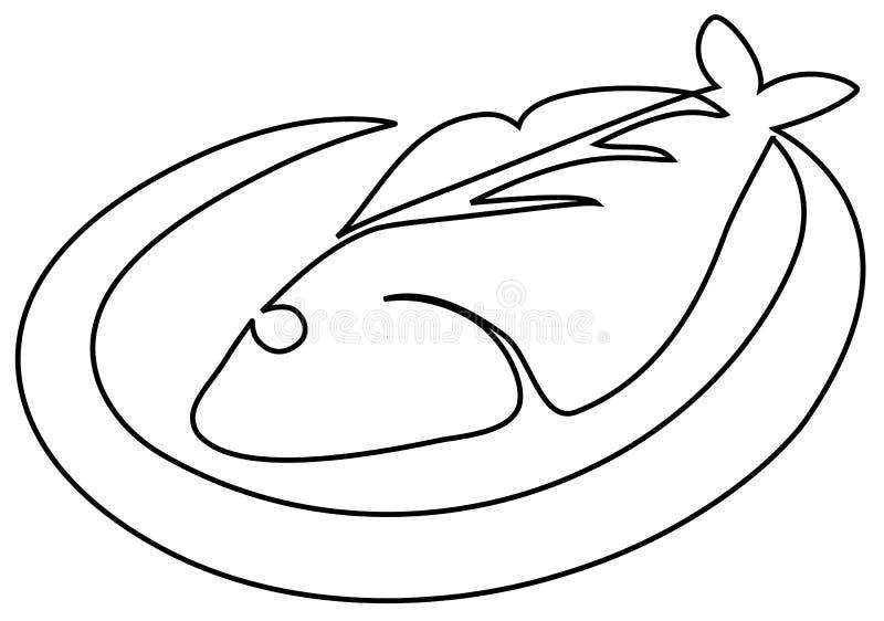 Ryba na talerzu royalty ilustracja
